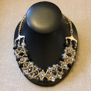 Black, silver and gold necklace